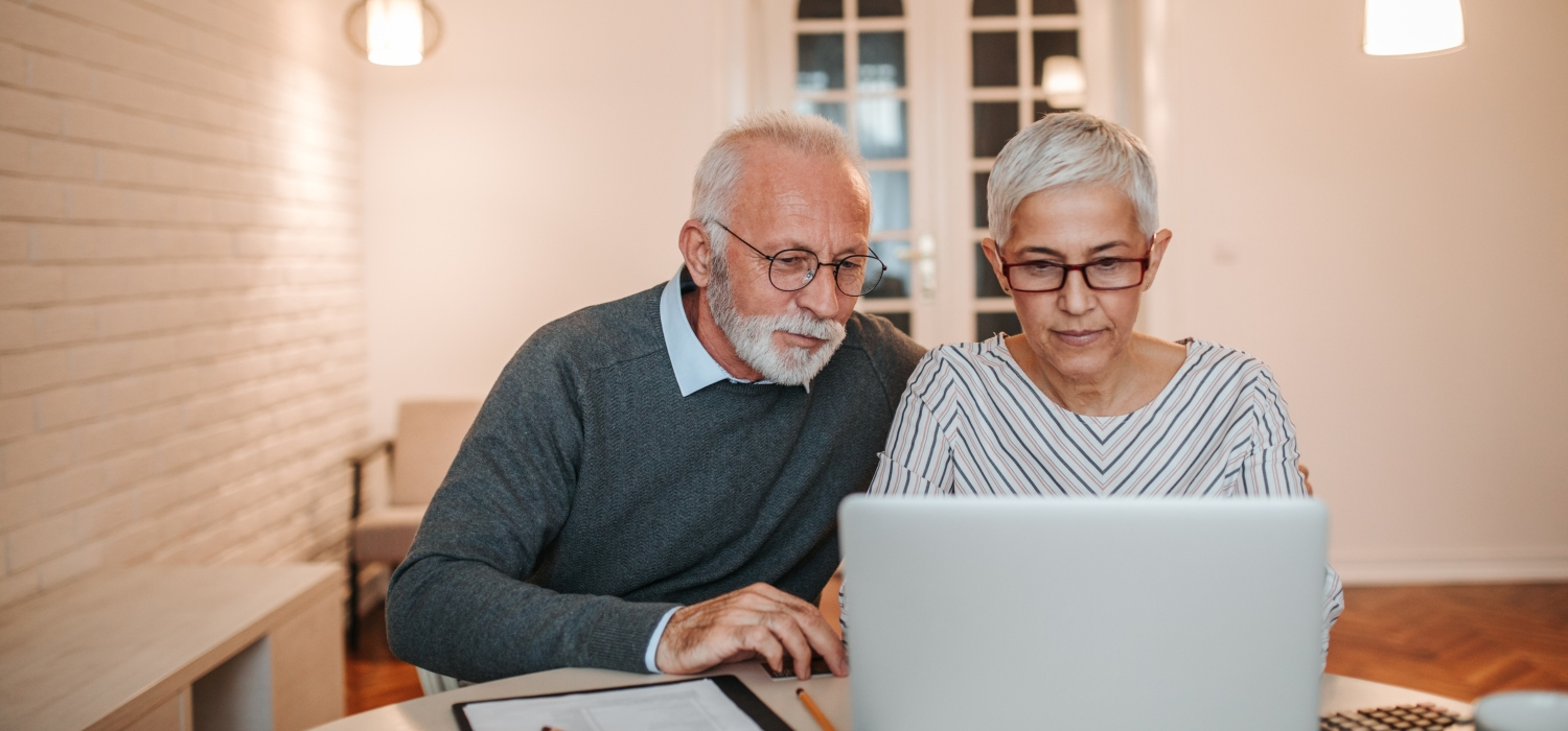 Senior couple browsing the internet together