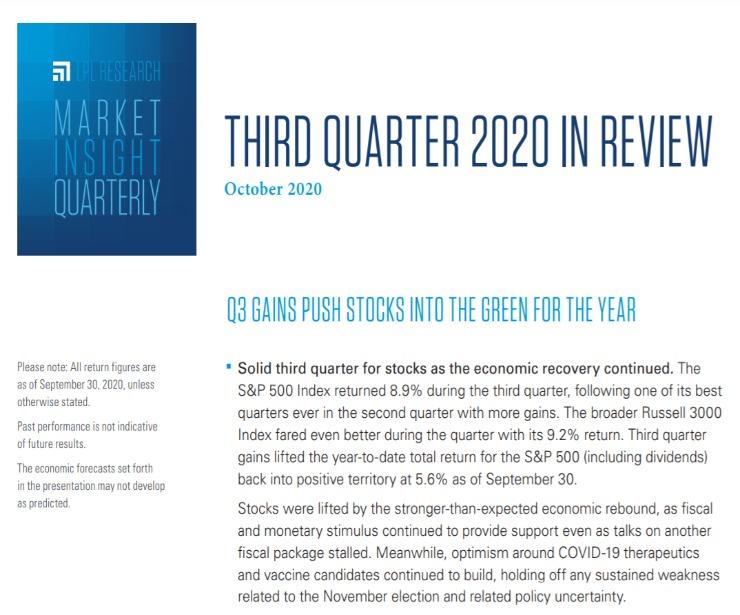 Market Insight Quarterly| Third Quarter 2020 | October 21, 2020