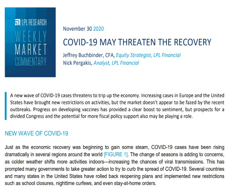 COVID-19 May Threaten the Recovery   Weekly Market Commentary   November 30, 2020