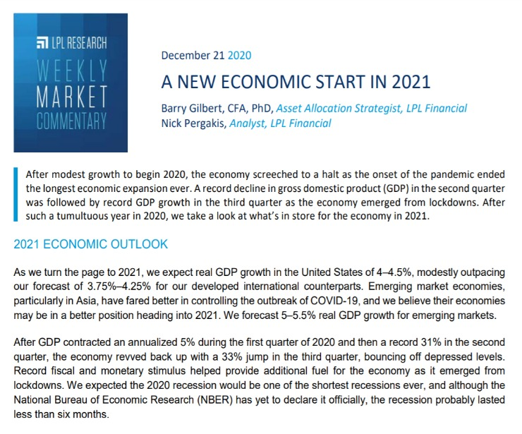 A New Economic Start in 2021 | Weekly Market Commentary | December 21, 2020